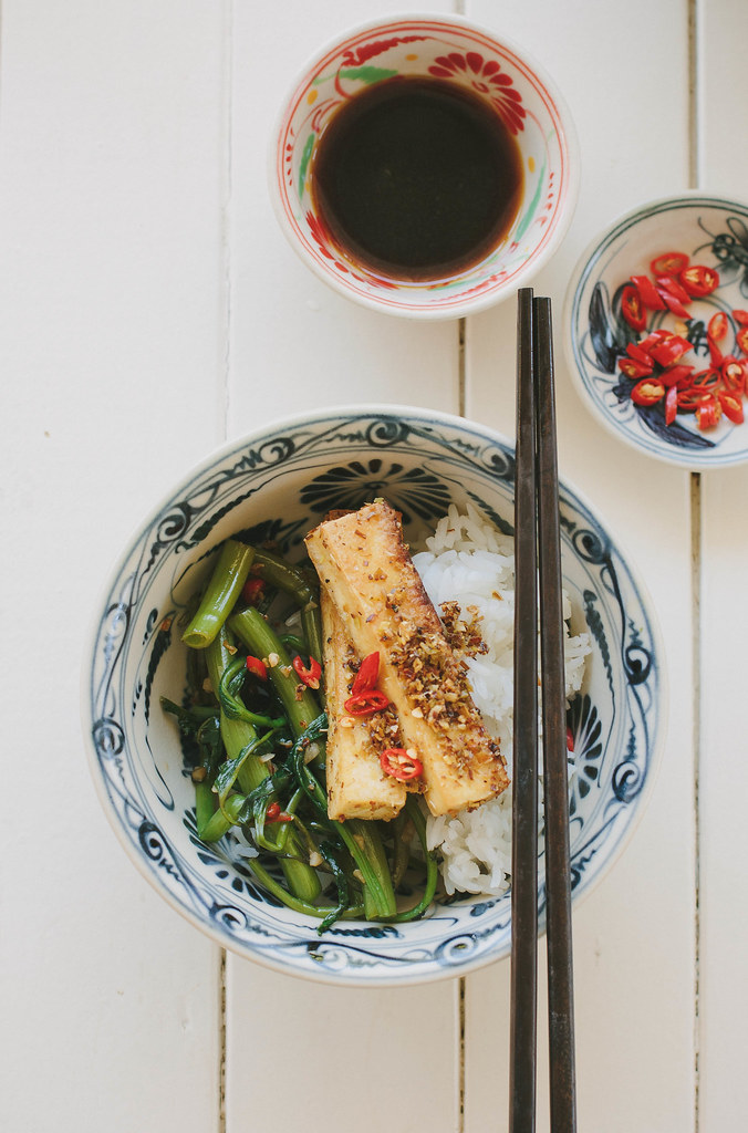 Lemongrass tofu with chilli kang kong