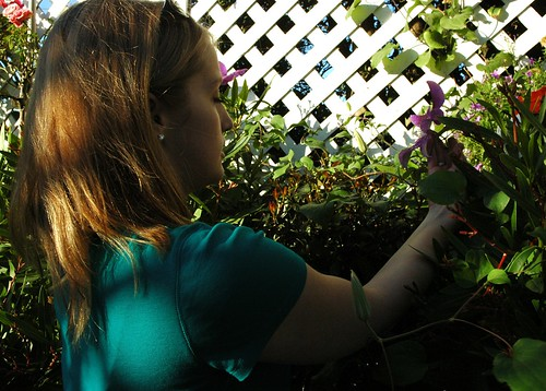 Jessie looking at an iris with meditational grace, white trellis, garden, Mill Rose Inn, Half Moon Bay, California, USA by Wonderlane