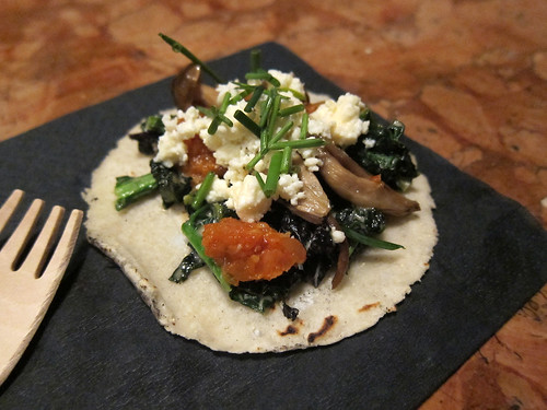 Braised cavolo nero - Soy pickled enoki, kimchi puree, queso fresco