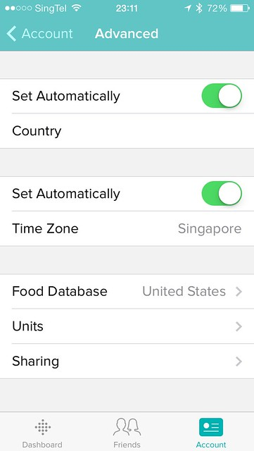 Fitbit iOS App - Account - Advanced Settings