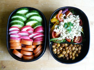 Bento: pizza leftovers and roasted chickpeas