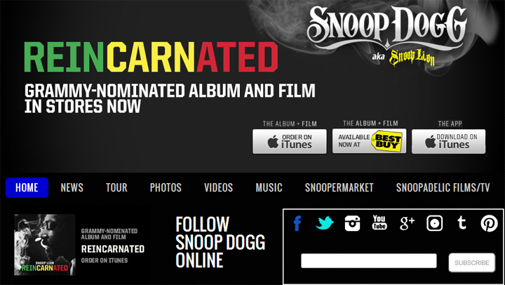 screenshot official website snoop dogg | ekajogja.com