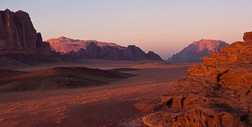 sunset red yellow desert wadirum jordan