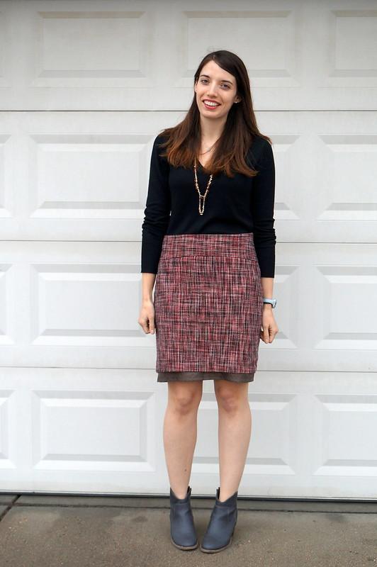 tweed skirt black sweater