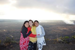 Nina, Alexa, Jules wearing Kihei, offering Ho'okupu at Halema'uma'u crater