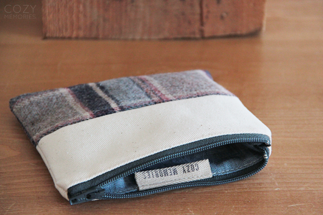 wool & organic cotton zipped pouch