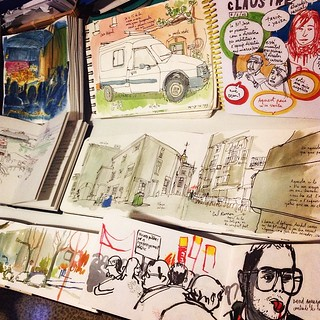 #urbansketchers #urbansketching preparing a collective #exhibition in a community center in #barcelona.