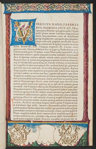 Decorated page in Servius Maurus, Honoratus: Commentarii in Vergilii opera