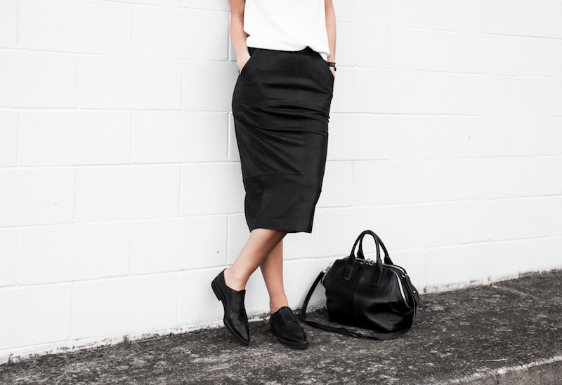 modern legacy blog street style off duty Camilla and Marc high neck white top ASOS leather pencil skirt Helmut Lang oxfords loafers monochrome minimalist Alexander Wang blogger what to wear to work (6 of 10)