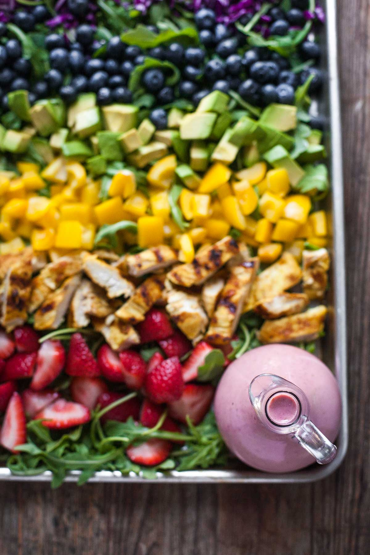 Top 15 Paleo Recipes of 2015--Rainbow Salad with Grilled Chicken and Raspberry Walnut Dressing (Whole30) | acalculatedwhisk.com