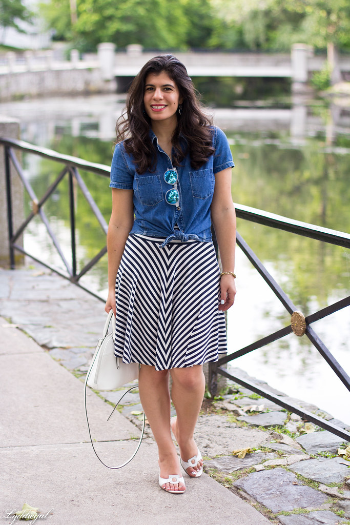chambray shirt, striped skirt, white sandals-1.jpg