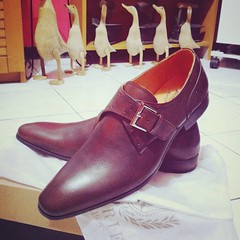 """My new shoes... A Monk Shoe is a style of shoe with no lacing, closed by a buckle and strap. It is also known as a Monk Strap, and has been described as the """"most advanced"""" dress shoe. It is a moderately formal shoe: less formal than a full Oxford (Americ"""