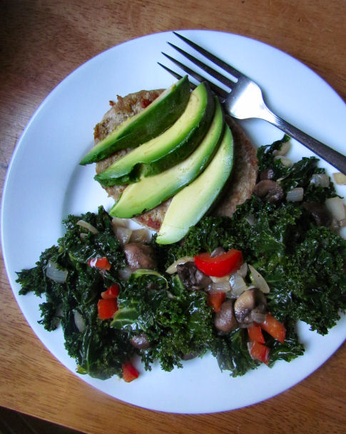 Turkey Burger with Sauteed Kale and Veggies
