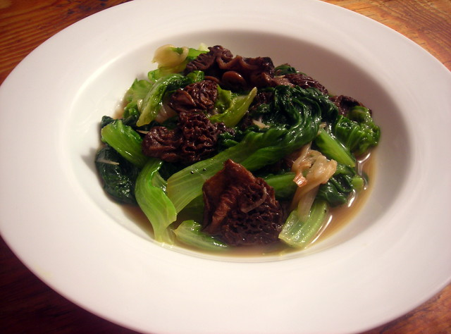 Green leaf lettuce, braised with French butter, shallots and morels