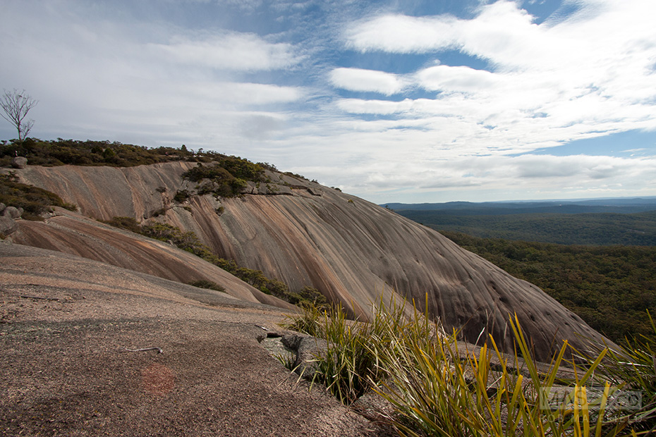 The first breathtaking glimpse of the largest exposed surface of Bald Rock.