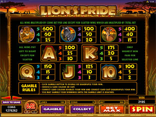 Lion's Pride Slots Payout