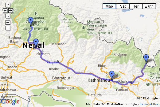 Open Nepal Itinerary Map in Google Maps