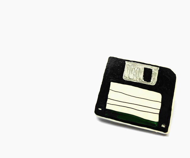 Green floppy disc Brooch 01