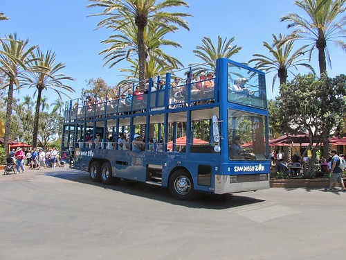 A large blue open double deck sightseeing tour bus at the San Diego Zoo.  June 2013. by Eddie from Chicago