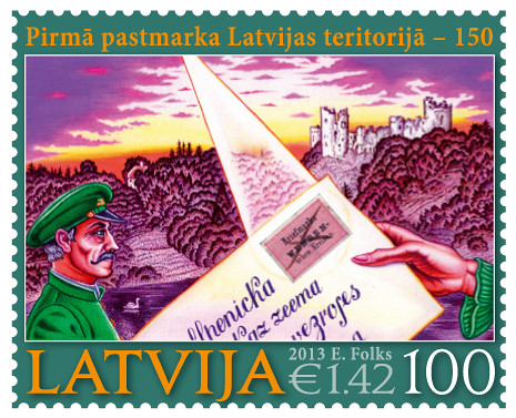 """Latvijas Pasta"" jaunākā pastmarka ""Pirmajai pastmarkai Latvijas teritorijā - 150"""