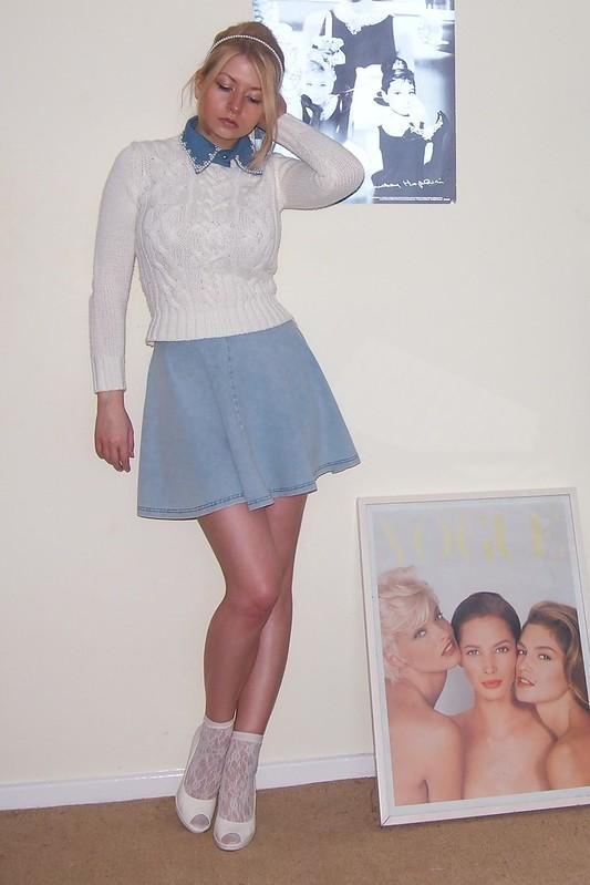 Topshop, Denim Mini Skirt, Circle Skirt, American Apparel Dupe, Beehive, Embellished Collar