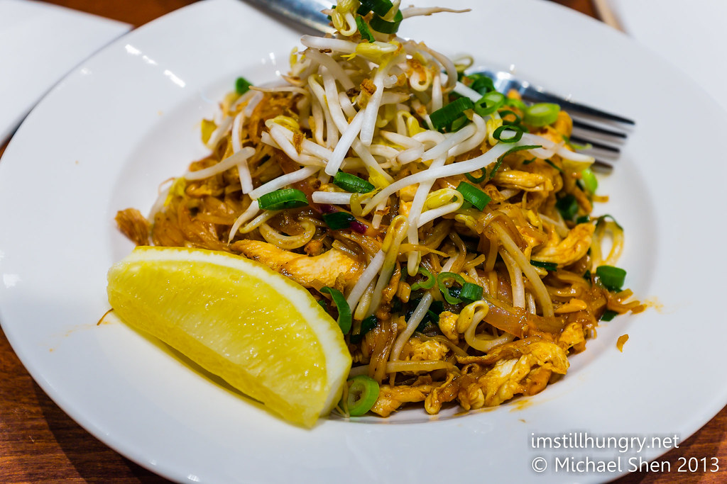 PAD THAI (chicken) - Stir fried rice noodles with bean sprouts, egg, garlic chives, Spanish onion and crushed peanuts holy basil