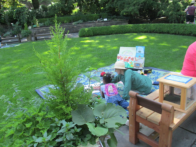 A child enjoys a garden story at a Discovery Mornings program. Photo by Ashley Gamell.