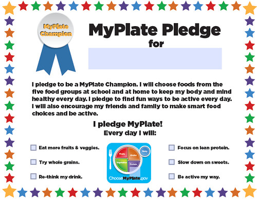 Kids who take the MyPlate Champions Pledge make a promise to themselves to make healthier choices every day.