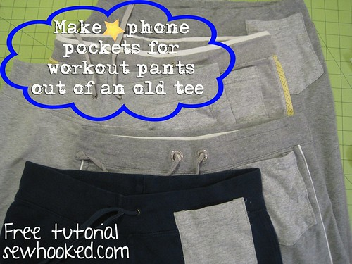 Make a pocket for workout pants from an old tee.