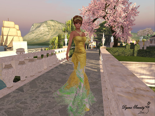 Paris METRO Couture: Golden Aussie Spring Corset Gown by Dyana Serenity Blogger Second Life *Thanks to all