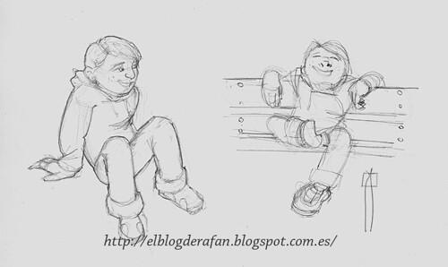 boceto niño sentado
