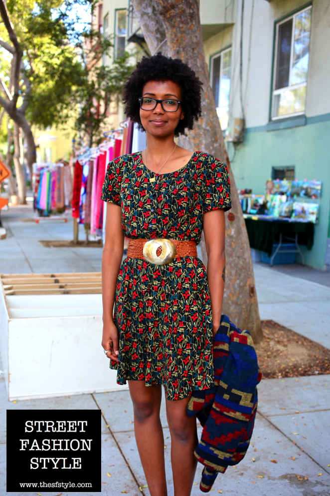 street fashion style, san francisco fashion blog, streetstyle, long romper, fashion prints, envelope necklace, wide belt, chunky belt, painted bird,