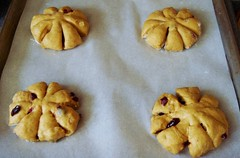 Cranberry Pumpkin Rolls: Shaped