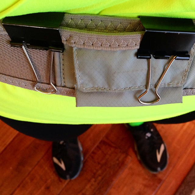 Ummm ya...lost my smaller Nathan Hydration belt. I need to buy a new one but keep forgetting. I made it tighter today with binder clips. #classyrunner