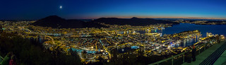 Bergen, Norway - Panoramic view from Fløyen after sunset