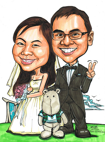 wedding couple caricatures @ MBS
