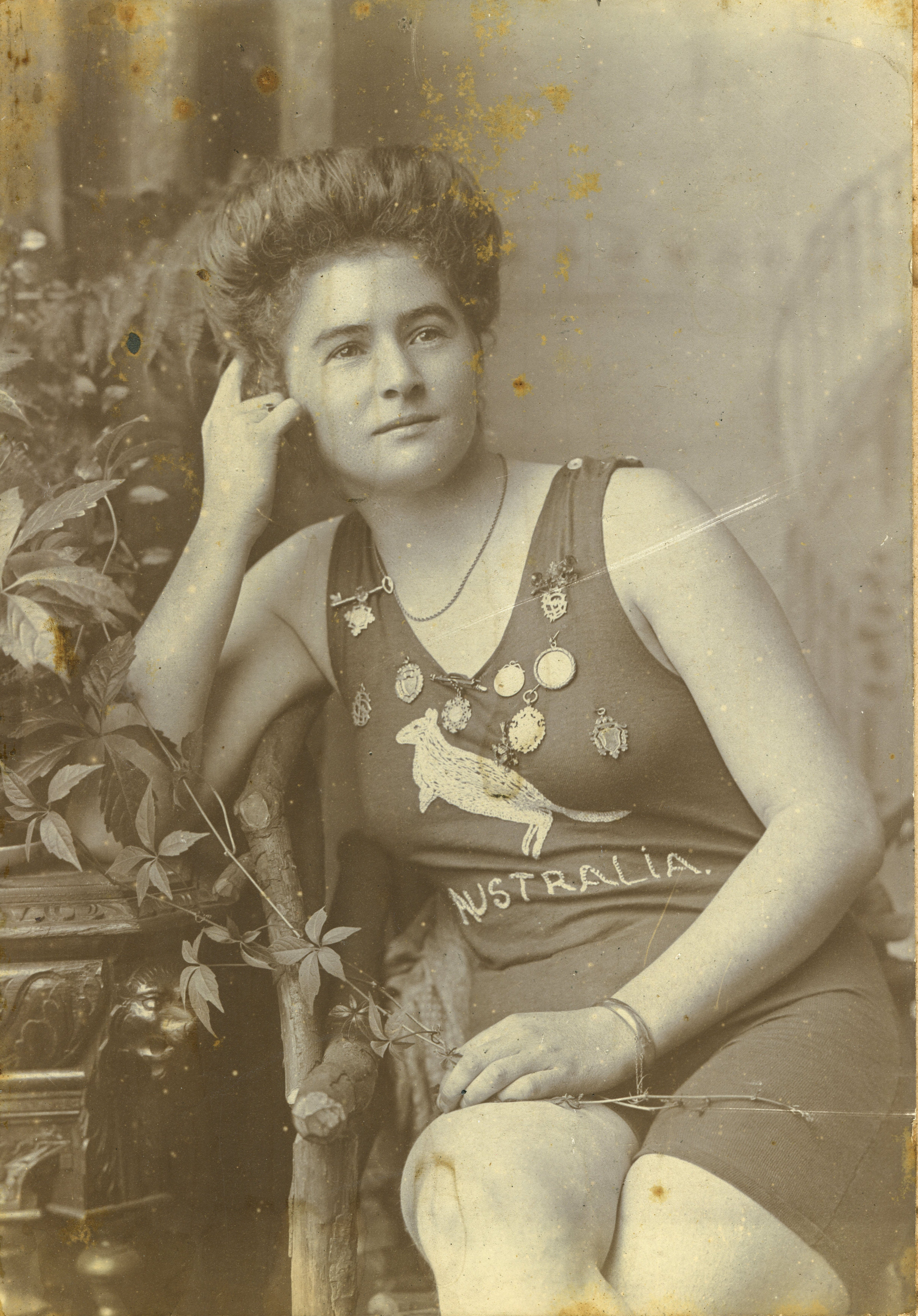 Photograph of Beatrice Kerr in her Australian swimsuit