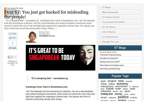 Straits Times Hacked by Anonymous