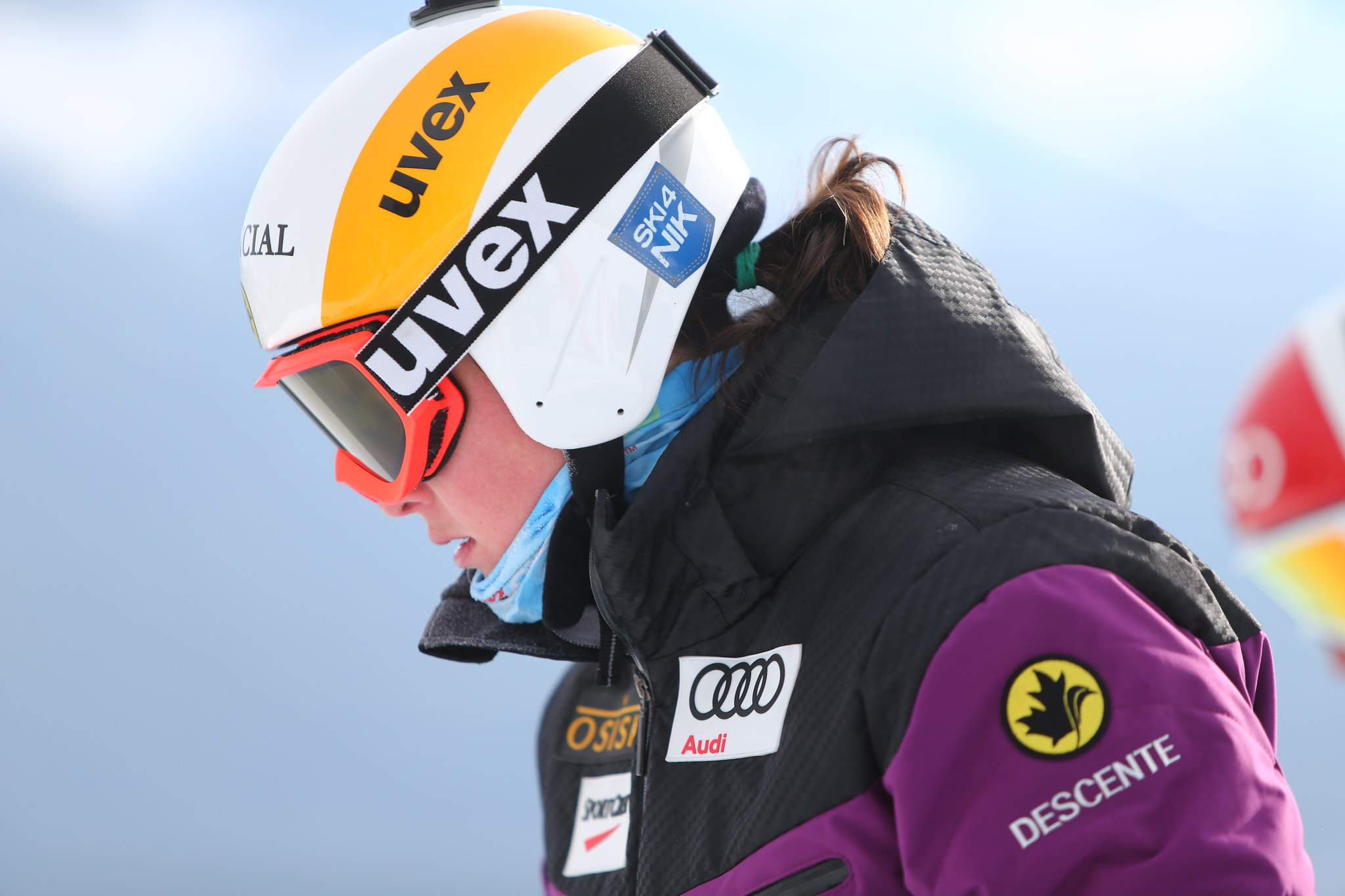 Marielle Thompson during training at the FIS Ski Cross World Cup in Nakiska, CAN