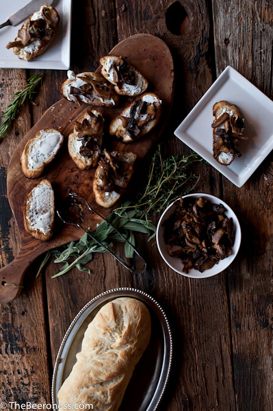 Stout Soaked Mushroom & Herbed Goat Cheese Crostini4