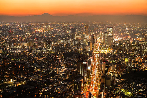 Tokyo City Skyline with Mt. Fuji at Twilight
