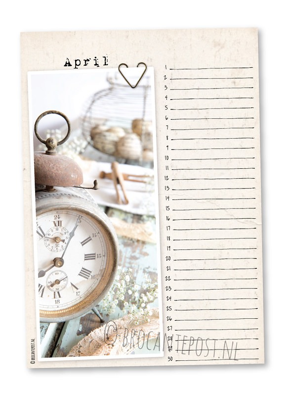 Brocantepost-verjaardagskalender-april