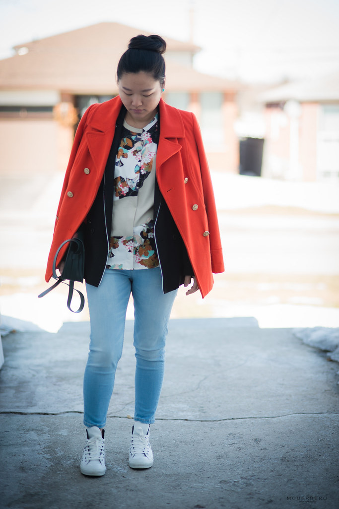orange coat and floral blouse 03