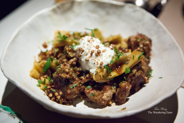 Kasha, bowtie pasta, veal meatballs