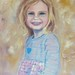 """The first painting in my new series, """"Pale,"""" is a portrait of my third cousin, Reese Adams.  She is very fair in hair color and complexion and has deep-blue eyes that are quite striking.(16""""H x 20""""W,  oil on canvas)"""