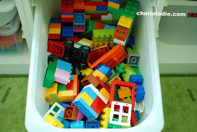 LEGOs! We have both the Duplos and the normal sized legos but are stored separately.