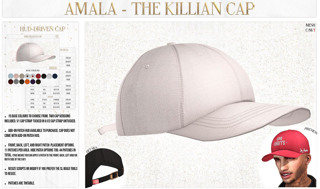 Amala - The Killian Cap for Kustom9 - SecondLifeHub.com