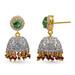 White Sapphire Pave 925 Silver Beaded Tassel Jhumki Emerald Ruby Earrings by Emeralds Bazar