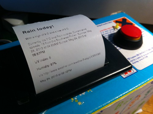 Daily weather forecast on my printer - rain, of course