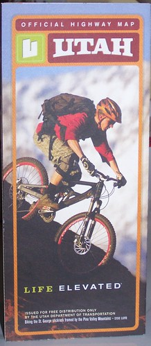 Utah State Highway Map features a bicyclist on the cover of the 2013 edition